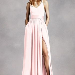 Vera Wang Dresses - WHITE BY VERA WANG V-Neck Halter Gown with Sash